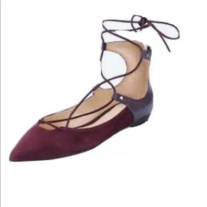 Sam Edelman Rosie Leather Ankle Strap Flats 8M Red